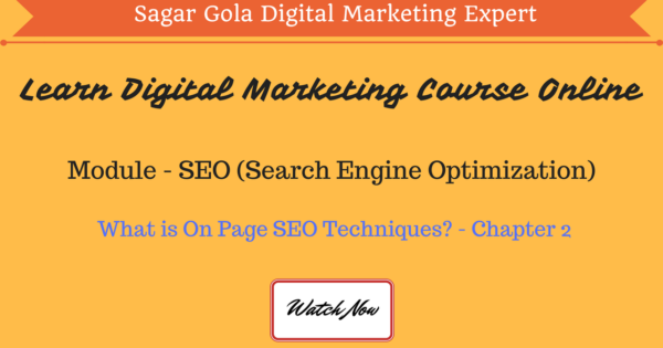 What is On Page SEO Techniques?   Activities   Tutorial - Chapter 2 - Hindi