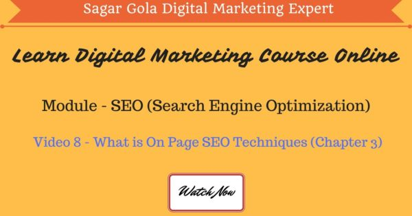 What is On Page SEO Techniques? | Activities | Tutorial - Chapter 3 - Hindi